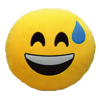 Whatsapp Dekokissen - Emoticon lacht mit Schweiß auf der Stirn