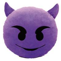 Lila Kobold Smiley Kissen mit fiesem Blick