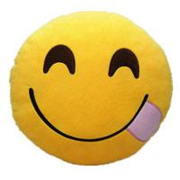 Smiley genißt schmackhaftes Essen als Kissen in guter Qualität