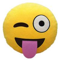 Smiley streckt Zunge heraus als Kissen
